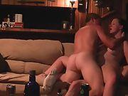 Wife dual penetration orgasm on sofa