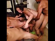 Hot 45 year old gf loved her first ever multiple man experience