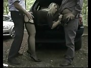 Dogging mature threesome in the forest