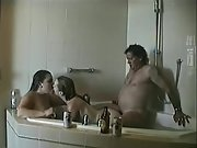 Super-steamy young wives enjoy threesome hook-up with an old dude in the bathtub
