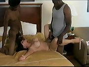 Interracial horny wife and two blacks buxom milf 3some lovemaking